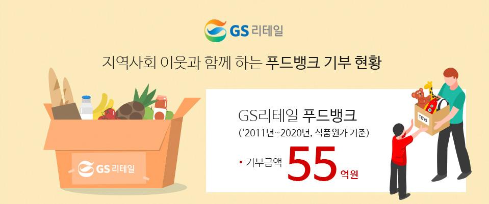 GS리테일 지역사회 이웃과 함께 하는 푸드뱅크 기부현황 GS리테일 푸드뱅크(2011~2020년, 식품원가 기준 / 기부금액 55억