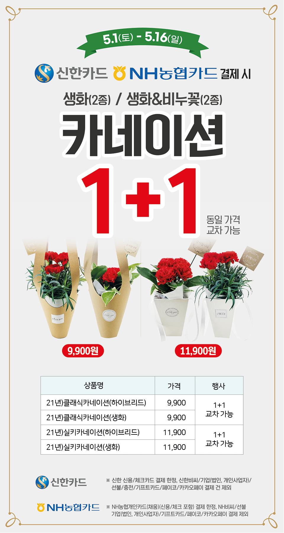 신한카드, NH농협카드 결제 시 카네이션 1+1